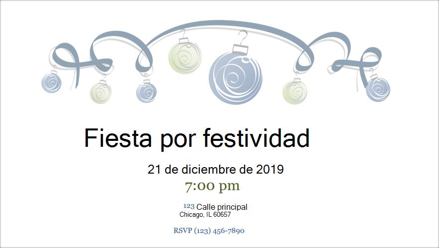 Imagen de una invitación a fiesta navideña