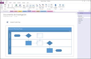 Información general sobre un diagrama insertado en una página