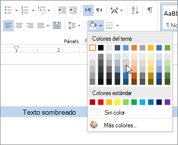 Aplicar el color de sombreado al texto