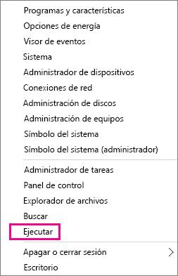 Ejecute el comando después de hacer clic con el botón derecho en Inicio en Windows 8 y Windows 10