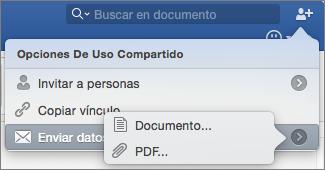 Seleccione el formato del documento que quiere enviar (documento de Word o PDF).