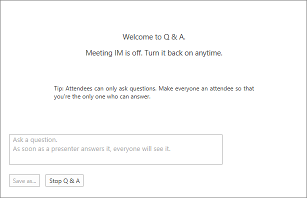 Pantalla de bienvenida de la sesión de preguntas y respuestas