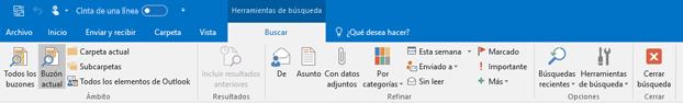 Al seleccionar el cuadro de búsqueda, la cinta de opciones cambia.