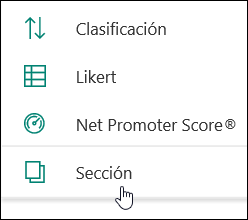 Opción nueva sección en Microsoft Forms