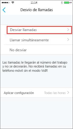 Pantalla de desvío de llamadas de Skype Empresarial para iOS