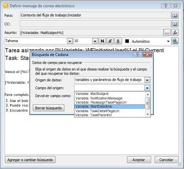 Puede usar las opciones en el cuadro de diálogo Búsqueda de Cadena para proporcionar contenido dinámico a una notificación de tarea