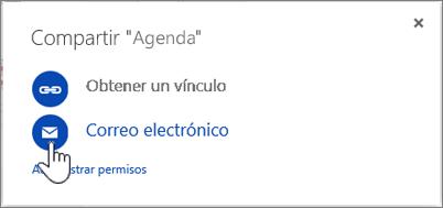 Captura de pantalla de la selección de correo electrónico en el cuadro de diálogo Compartir en OneDrive
