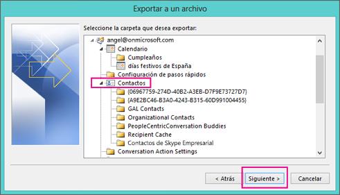 Suba y elija la carpeta de contactos que desea exportar.