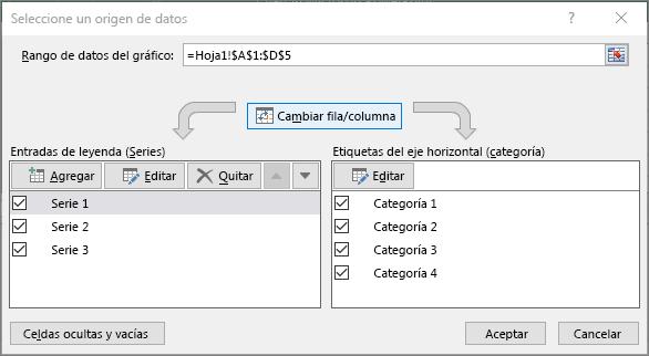 Muestra el cuadro de diálogo Seleccionar datos en PowerPoint