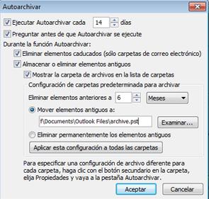 Aquí es donde se eligen las opciones de archivado automático.