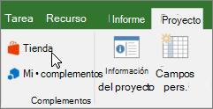 Captura de pantalla de una sección de la ficha proyecto en la cinta de opciones con un cursor apuntando a la tienda. Seleccione almacenamiento para ir a la tienda de Office y busque complementos para Project.