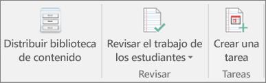 Fila de iconos donde se muestra Distribuir biblioteca de contenido.
