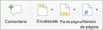 En la ficha Insertar, haga clic en encabezado o pie de página