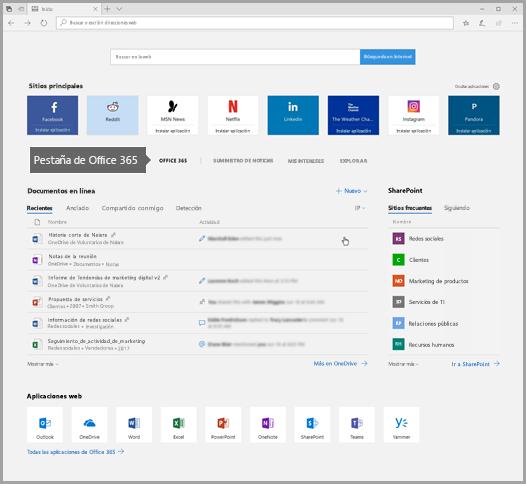 Captura de pantalla de Microsoft Edge con la pestaña de Office 365