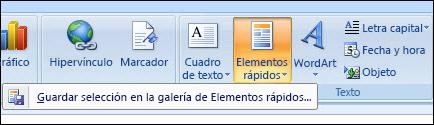 Elementos rápidos de Outlook 2007