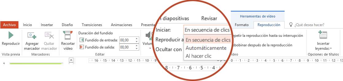 Las opciones de reproducción para un vídeo en su PC son: In Click Sequence (En secuencia de clics), Automáticamente o Al hacer clic