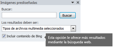 Si activa la opción Incluir contenido de Bing, se le ofrecerán más resultados de la búsqueda entre los que elegir.