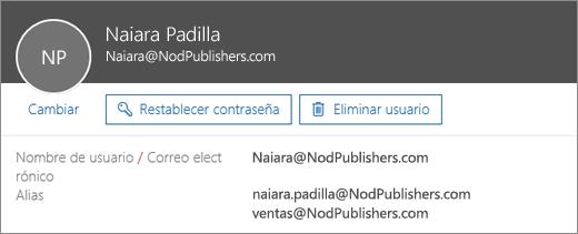 Este usuario tiene una dirección principal y dos alias.