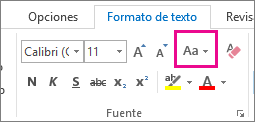 Botón Cambiar mayúsculas y minúsculas en la pestaña Formato de texto