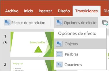 Muestra las transiciones > menú de opciones de efectos en PowerPoint para Android.
