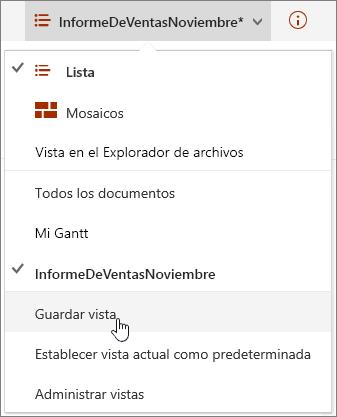Menú de opciones de vista de SharePoint Online con guardar resaltado