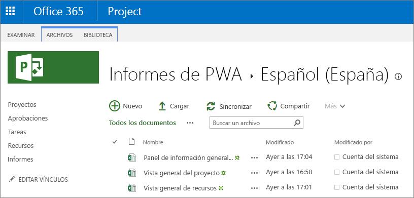 En la página informes de PWA, seleccione el idioma.