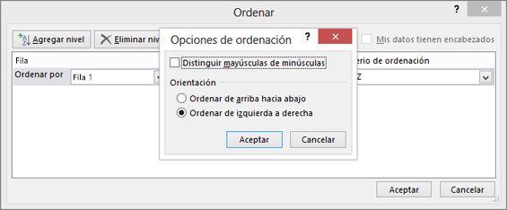 En el cuadro Opciones de ordenación, haga clic en De izquierda a derecha
