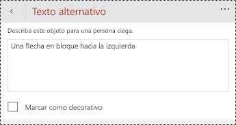 Cuadro de diálogo texto alternativo para formas en PowerPoint para teléfonos Windows.