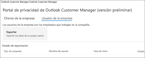 Captura: exportar datos de empleados de Outlook Customer Manager