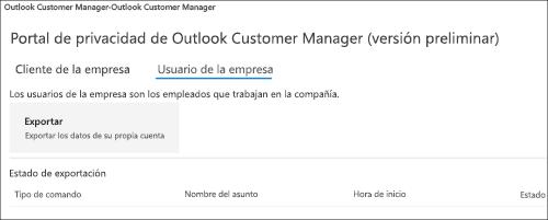 Captura de pantalla: Administrador de clientes de Outlook de exportar datos de los empleados