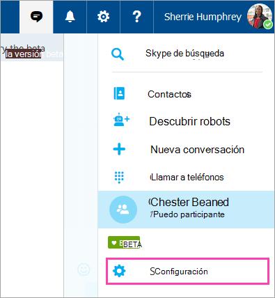 Una captura de pantalla del botón de configuración en el menú de Skype