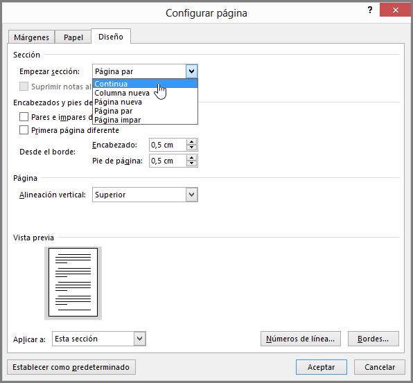 El cuadro de diálogo de configuración de página contiene opciones de configuración de página avanzadas.