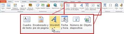 La pestaña Insertar de PowerPoint 2010, con el botón WordArt resaltado.