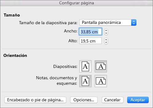 Cuadro Configurar página