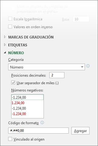 Las opciones de formato de número para el eje de valores