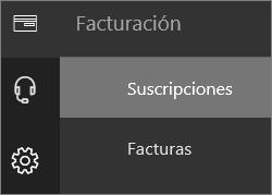 Captura de pantalla del menú Facturación en el nuevo Centro de administración de Office 365, con la opción Suscripciones seleccionada.