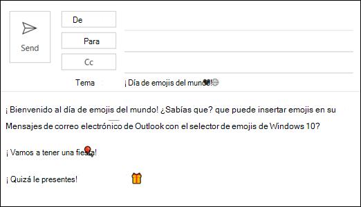 Puede insertar uno o más emojis en el mensaje de correo electrónico.