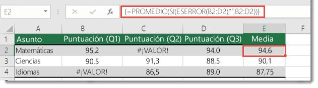 Función array en promedio para resolver el #VALUE. error