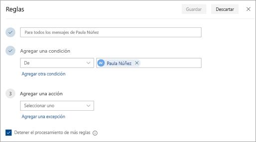 Captura de pantalla de la página de configuración de reglas