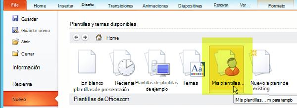 En la pestaña Archivo de la cinta de opciones, seleccione Nuevo y, después, seleccione el botón Mis plantillas.