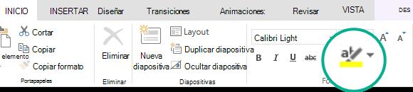 El botón marcador de resaltado de texto se encuentra en la pestaña Inicio de la cinta de opciones de PowerPoint Online