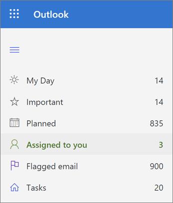Captura de pantalla de la lista asignada a usted en Microsoft to do