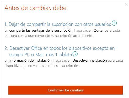 Acciones que debe realizar antes de poder cambiar de Office 365 Hogar a Office 365 Personal.