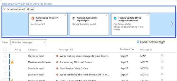Captura de pantalla: que muestra los principales actualiza la sección del centro de mensaje.