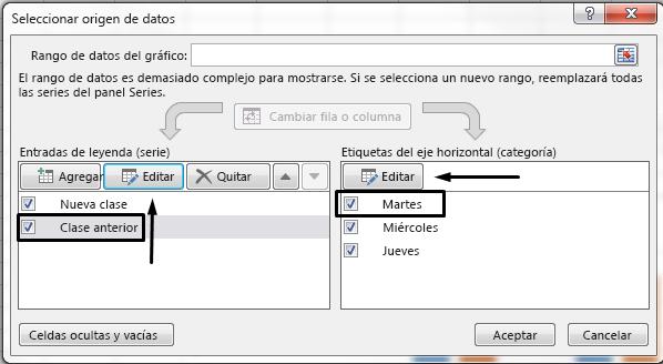 Puede editar el nombre de la leyenda en el cuadro de diálogo Seleccionar origen de datos.