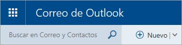 Una captura de pantalla de la esquina superior izquierda del buzón de la versión clásica de Outlook.com