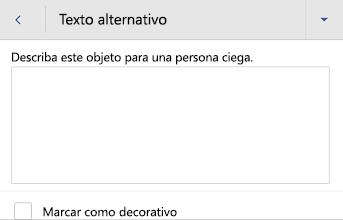 Cuadro de diálogo texto alternativo para imágenes de Word para Android