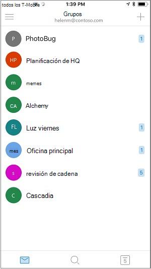 Pantalla de inicio de la aplicación móvil de grupos