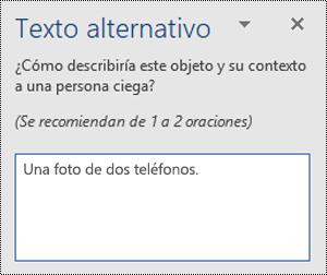 Un ejemplo de texto alternativo deficiente en Word para Windows.