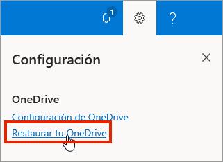 Menú de configuración de OneDrive para la Empresa en línea con Restaurar resaltado